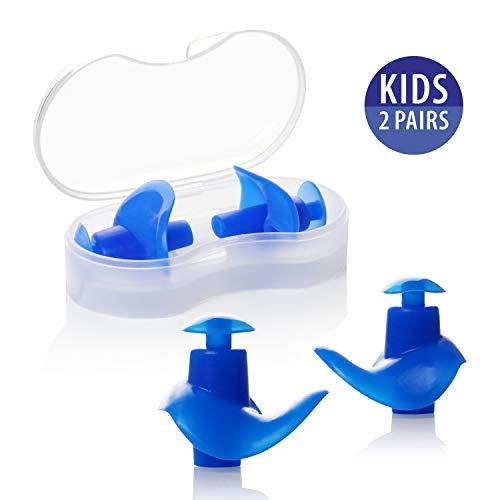 Hearprotek Ohrstöpsel Schwimmen Kinder, 2 Paar wasserdichte Wiederverwendbare Silikon Ohrstöpsel für Schwimmer beim Duschen beim Surfen und Anderen Wassersportarten (Blau)