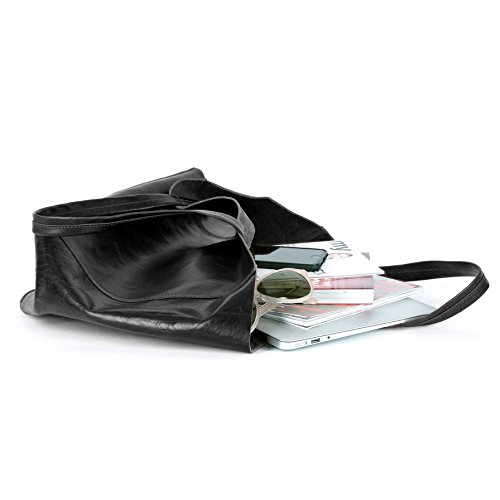 BACCINI Borsa FRIDA - Borsa a mano grande adatto 15 portatile - borsa a spalla vera pelle nero nero