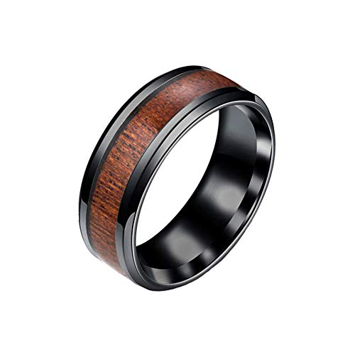BlackAmazement Unisex 316L Edelstahl Ring Walnuss Holz Wood Inlay Band Ring schwarz braun Herren Damen (60 (19.1)) (Holz-inlay Hochzeit Herren Mit Ring)