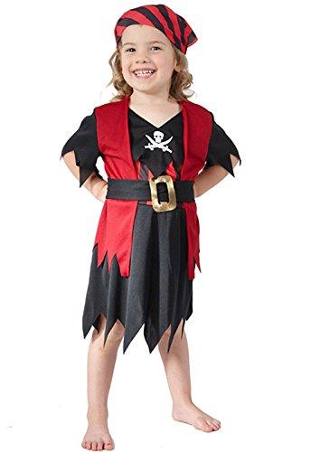 Piraten-Kostüm für Kinder schwarz-rot 98/104 (3-4 -