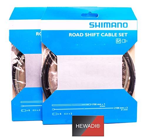 SHIMANO 2 x, Schaltzug-Set Road Stahl vorn & hinten, Race, schwarz Y60098501 + Aufkleber von HEWADI®