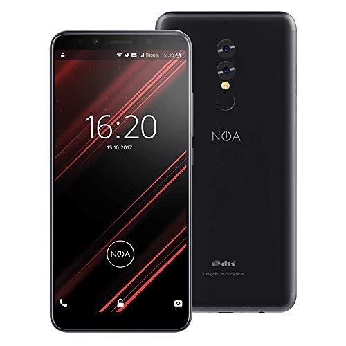 NOA N8 Smartphone 4G LTE ohne Vertrag | Dual SIM | CPU 8X 1.5 GHZ | 5.99 Zoll 18:9 Display | 64 GB Internal + 4 GB RAM | 16 MP und 13 MP + 5 MP Kamera | DTS Sound | 5000 mAh (SCHWARZ)