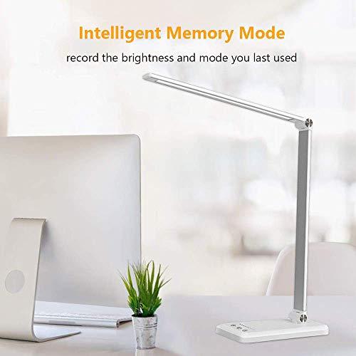 41Tkzhl20VL - Lámpara Escritorio LED,5*10 Modos de Brillo con 52 SMD Leds Lámparas Mesa USB Recargable,2000mAh Plegable Flexo de Escritorio Control Táctil,Protege a ojos
