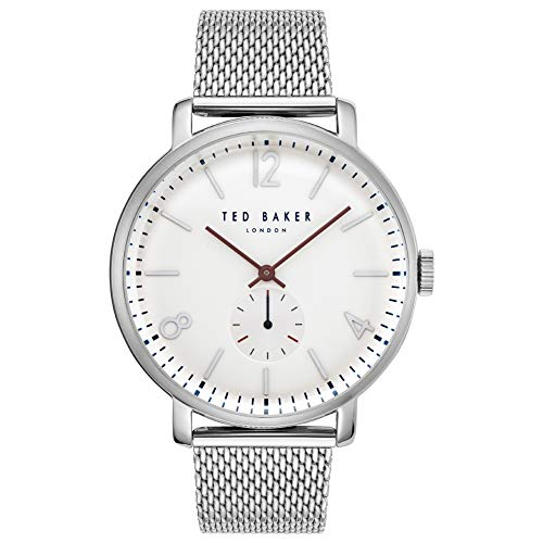 TED BAKER- OLIVEER GENTS STAINLESS STEEL WHITE DIAL MESH BRACELET WATCH -