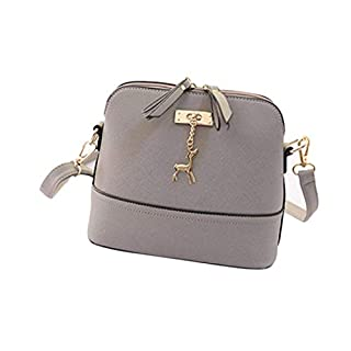 Amlaiworld Hangbag, New Women Messenger Bags Vintage Small Shell Leather Handbag Casual Bag (Gray)