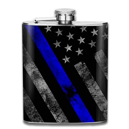 Dünne blaue Linie Flaggen-angesagte Edelstahl-Flasche 7 Unze - Linien Hipster
