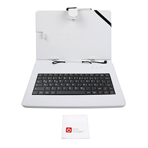 DURAGADGET Deutsche QWERTZ-Tastatur mit weißer Hülle für Odys Space 10 Plus 3G | IEOS Next 10 | Rise 10 Quad | Element 10 Plus 3G