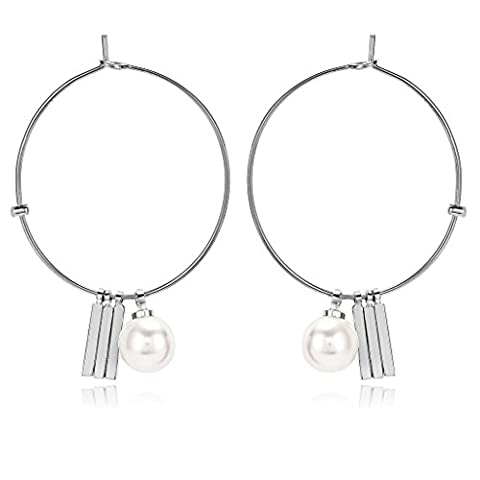Beydodo Dangle Earrings for Women Gold Plated Earrings Simple Big Round Earring Hoop for Bridal Bar Pearl