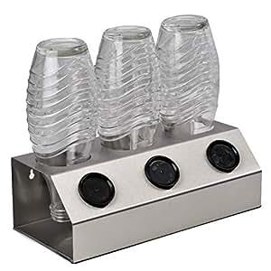 ktDesign 3er Abtropfhalter mit Abtropfschale aus Edelstahl für z.B. Sodastream Crystal inkl. Deckelhalterung