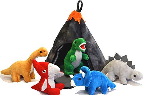 Little Babas Kids Kinder Dinosaurier Vulkan Plüsch tragen Haus mit 5 weichen Plüschspielzeug Dinosaurier T Rex, Triceratops, Stegosaurus, Pterodactyl, Brachiosaurus