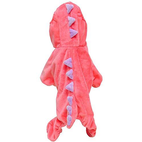 Pet Plüsch Outfit Dinosaurier Kostüm mit Kapuze für Kleine Hunde & Katzen Jumpsuit Winter Coat Warm Kleidung, Large, Rose (Up-spiele Familien-halloween Dress)