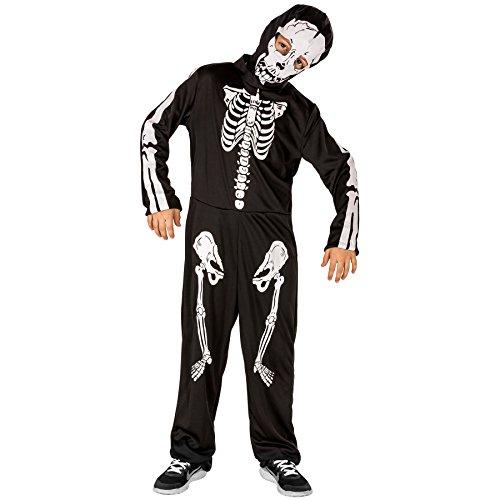 Kinder Skelett Halloween Fasching Karneval Kostüm Set mit Maske (8-10 Jahre | Nr. (Halloween Lustig Kostüm Ideen 2017)