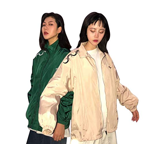 Fgfghbfhrger Frauen beiläufige lose Langarm Stehkragen Jacke Outwear Baseball Coat Tops Outwear (Color : Apricot, Size : XL)