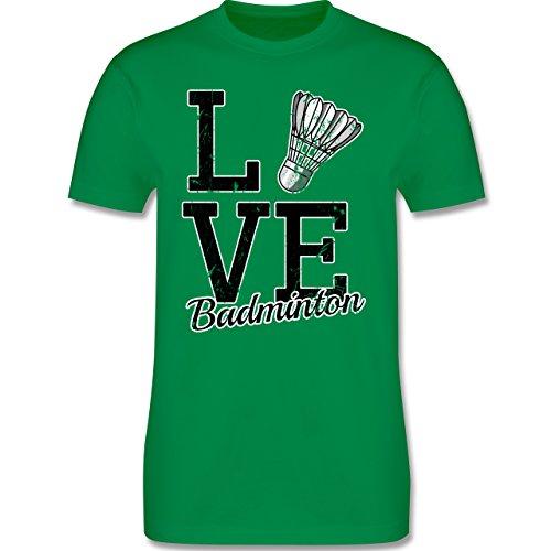 Shirtracer Sonstige Sportarten - Love Badminton - Herren T-Shirt Rundhals Grün