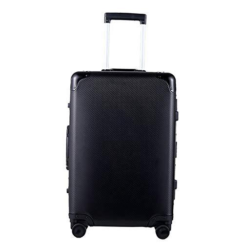 Hu-bag Gepäck, Qualitäts-Aluminium-Magnesium-Legierung Durable Retro Stilvolle Geschäfts-Laptop Reise Bewegliche Stab-Boxen Für Männer Frauen,Schwarz,24inches
