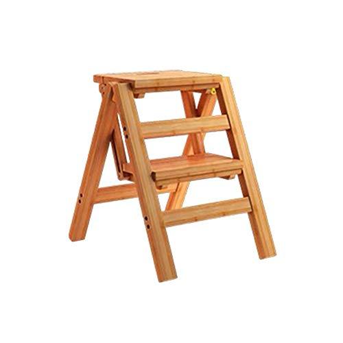 ZEMIN Pliable Tabouret Échelle Escalier Monter Ménage Intérieur 2/3/4-step Épaissir Bois, 3 Tailles (Couleur : Le Jaune, Taille : 38x46x50cm)