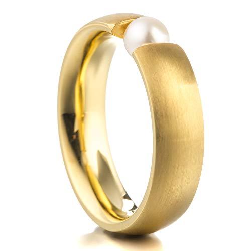 Heideman Ring Damen aus Edelstahl Gold farbend matt Damenring für Frauen mit echter Süßwasser Perle Weiss rund 6mm