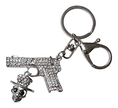 Schmuck für Tasche, Schlüsselanhänger, Pistole und Totenkopf mit Strass silber. (Pistole Strass)
