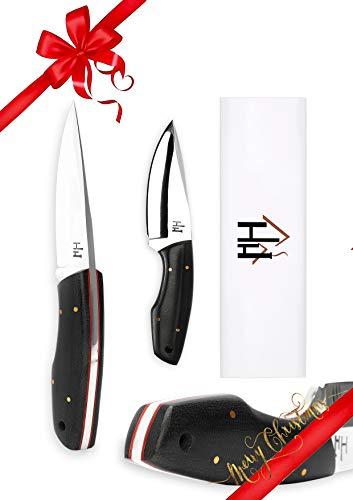 Hobby Hut HH-703, 20.3 cm jagdmesser mit lederscheide, 01 Kohlenstoffstahl,Camping Messer, Extra Scharf, Micarta Griff, lederscheide
