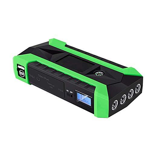 00A Peak 20000mAh Auto-Jumper, 12V Batterie-Booster (bis zu 5,0l Gas, 3,0l Dieselmotoren), tragbares Jump Pack mit Schnellladung, 4 LED-Lichtmodi (Color : Green) ()