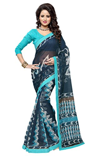 SOURBH Women's Art Silk (Super Net) Abstract Printed Saree (2351_Turquoise,Navy Blue)  available at amazon for Rs.695