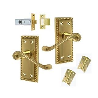 Georgian Brass Lever Latch Door Handles +3