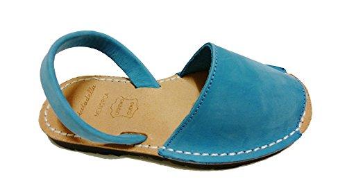 Sandales authentiques minorquines pour les enfants, différentes couleurs. Avarcas menorquínas Turquesa nobuck