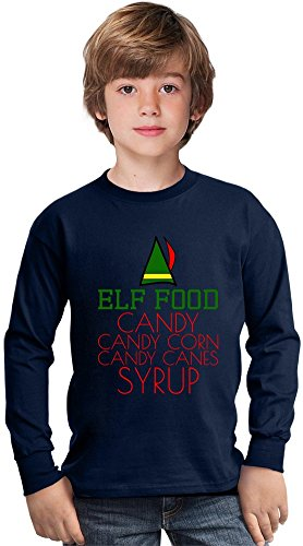 Elf Food Candy Canes Corn Syrup Funny Slogan Amazing Kids Long Sleeved Shirt by Benito Clothing - 100% Cotton- Ideal For Active Boys-Casual Wear - Perfect For A Present Unisex 5-6 years