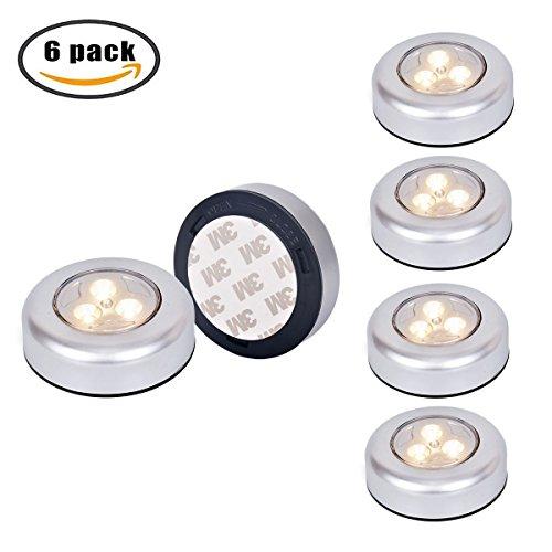 Tougo 6er-Set LED Touch Lamp Nachtlicht Batteriebetriebenselbstklebend K¨¹chenlampen Schrankleuchten f¨¹r Schlafzimmer Kinderzimmer Flur, Warmweiß