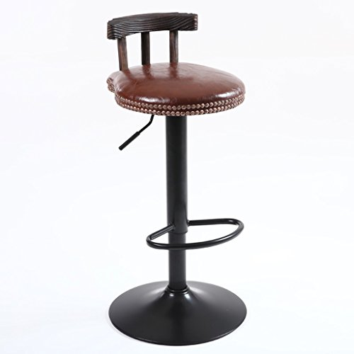 ZWL Bar Chaises, tables et chaises Tabouret haut Bois massif Retro Imitation Métal Mode Rotation classique de levage Café Bar Club H75cm-95cm mode (Couleur : B)