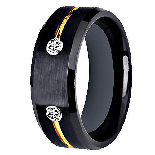 XCWXM Ringe Für Damen Wolfram Ehering Verlobungsring Classic Herren Schwarz Wolfram Ring Gold Groove Inlay Jubiläums Geschenk Ring, 9,5 (Gold-wolfram Herren Ehering)