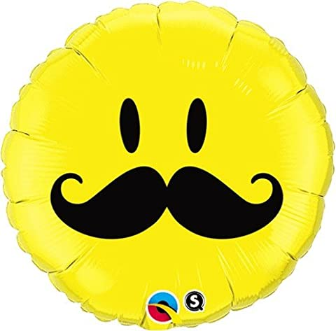 "Smiley Face Mustache Round 18"" Mylar Foil Balloon Birthday Party"