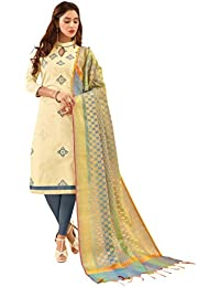 Women'S Beige Semi Stitched Embroidered Glaze Cotton Dress Material