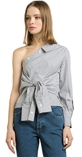 Sexy Asymétrique Off The Shoulder Épaules Nues à Nouer sur le devant Rayée Manches Longues Blouse Chemisier Shirt Chemise Haut Top Blanc Gris Blanc Gris