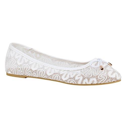 Spitze Damen Schuhe Ballerinas Häkeloptik Slipper Flats 157214 Weiss Schleifen 36 Flandell
