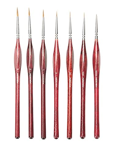 MEEDEN Professional Sable Hair Detail Paint Brush Set - 7 Miniature Art Brushes for Fine Detailing & Art Painting - Acrylic, Watercolor, Oil - Miniatures, Models, Airplane Kits,
