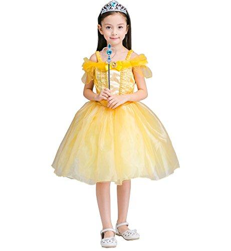 Das beste Belle Kostüm Kinder Glanz Kleid Mädchen Weihnachten Verkleidung Karneval Party Halloween (Kostüm Halloween Kleid Blau Belle's)