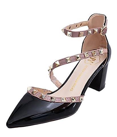 Minetom Fête Party Été Boucle Chaussures Rivet Rotation Stiletto Pumps High Heels Talons Hauts Femme Escarpins Pointed Toe Casual Filles Noir EU 37