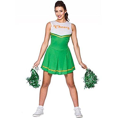 school Cheerleader-Abendkleid -Up Party Halloween-Kostüm-Ausstattung (Size S UK10-12) Grün (Halloween Lametta)