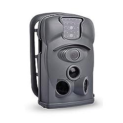 SUNLUXY® Farb CMOS IR Wildkamera Fotofalle Tarnkamera Überwachungskamera Tierselfie Jagdkamera mit SD Karte (Grau(Weitwinkel)+4GB SD Karte)