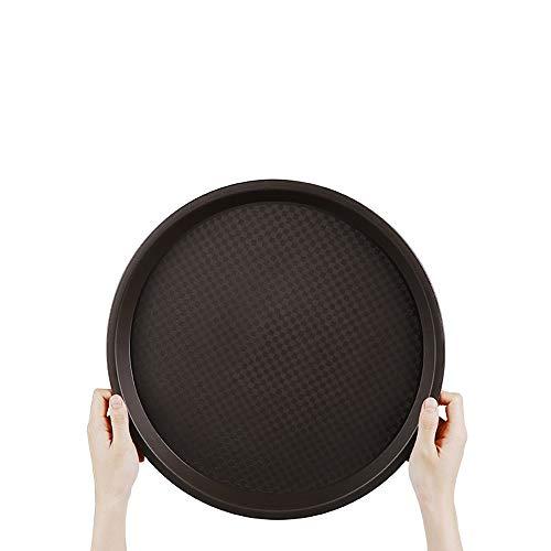 BSTLY Kunststoff Tablett rechteckig rutschfest Kantine Fast Food Teller rund Tablett braun 36,5cm Fire Tee Teller