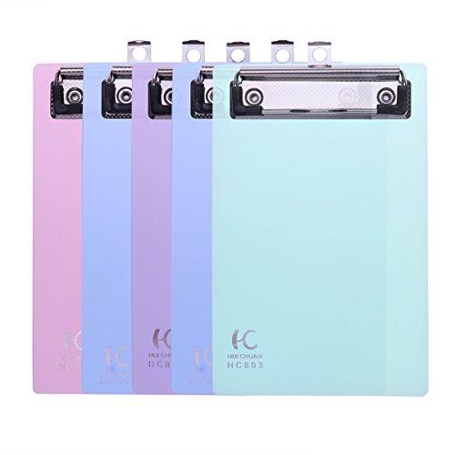 Nuolux Mini-Klemmbrett, transparent, A6, Kunststoff, flache Klemme, bunt, zufällige Farbe, 5Stück (Zwischenablage-pack Von 12)