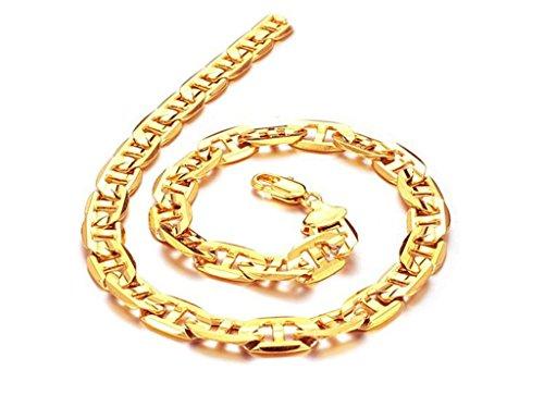 AnaZoz Schmuck Herrenmode Hängende Halsketten Gold 18K Vergoldet Kette für Männer, 50CM Länge (50CM Länge) (Herren Schmuck Ketten Gold 18)