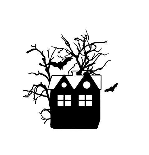 Autoaufkleber 12,6 * 13,2 Halloween Scary Fledermäuse Haus Baum Vinyl Party Horror Decor Auto Aufkleber Zubehör 2 Stück