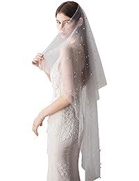 Beige, 1 Schichten Yunso 3m Lang Brautschleier Kathedrale T/üll Stickerei Braut Hochzeit Schleier Deko zum Brautkleid