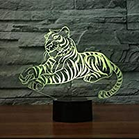 3D Tiger Animal Night Light Illusion Lamp 7 Color Change LED Touch USB Table Gift Kids Toys Decor Decorations Christmas Valentines Gift
