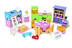 Le Toy Van Starter Furniture Set - Dolls House Wooden Accessory Set (styles and colours may vary)