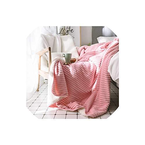 Fadue Sean Knitted Blankets Cotton-Torsion-Art handgemachte weiches Bett Plaids Knit Sofa Decke, Rosa, 150x200 cm -