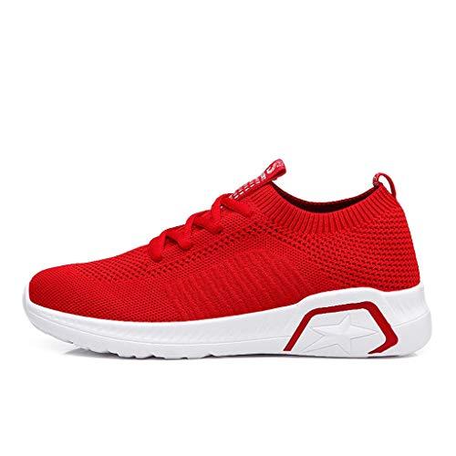Anglewolf Damen Sneaker Laufschuhe Sportschuhe Air Turnschuhe Running Fitness Socken Outdoors Straß Enlaufschuhe Sports Atmungsaktive Elastische Turnschuhe Aus Mesh(rot,37 EU)