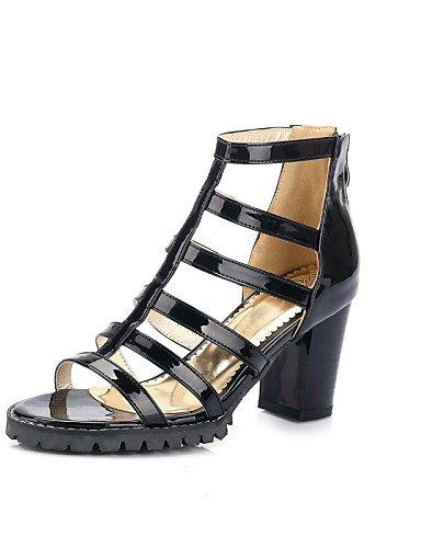 LFNLYX Chaussures Femme-Habillé-Noir / Blanc / Argent / Gris-Gros Talon-Bout Ouvert / Gladiateur-Sandales-Similicuir Silver